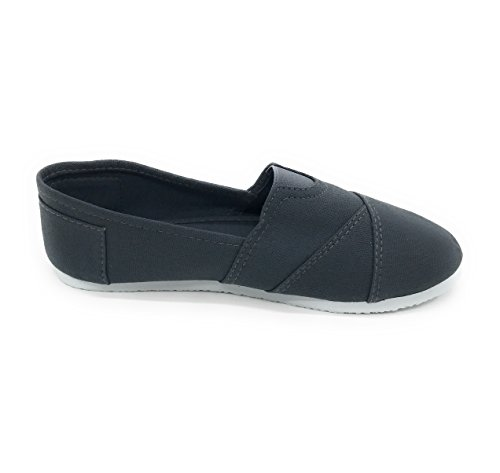 Blue Berry Easy21 Mujeres Canvas Punta Redonda Slip On Flat Fashion Sneaker Gris