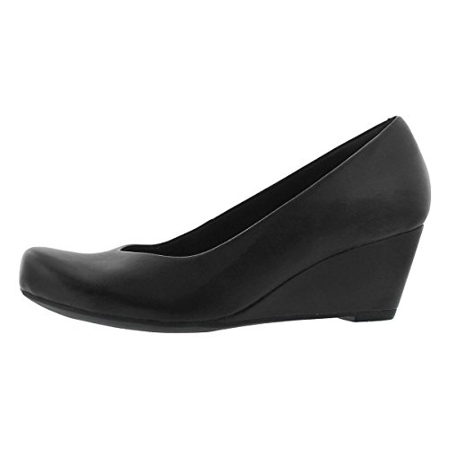 CLARKS Women's Flores Tulip Wedge Pump,Black Leather,8.5 M (Leather Tulip)