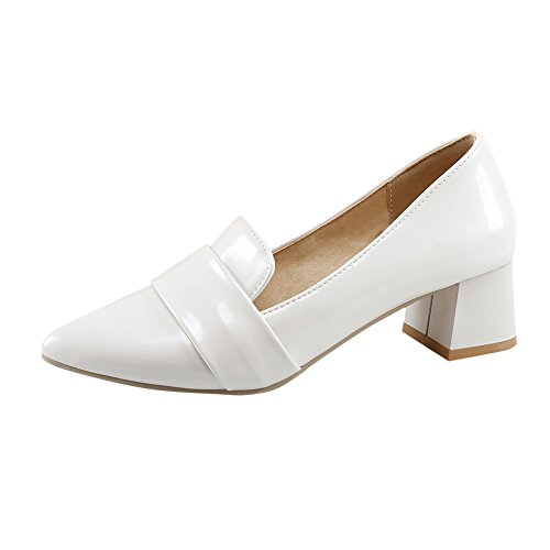 Charm Foot Womens Modern Stylish Chunky Heel Pointed Toe Pumps Shoes White 3sKpIX6yw