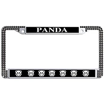 POWERED BY PANDAS Chrome License Plate Frame Tag Border