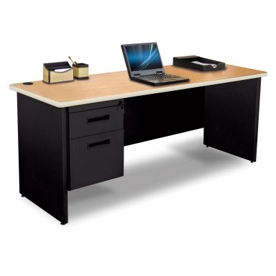 Single Pronto - Pronto Pronto Single Pedestal Credenza, 60W x 24D - Oak Laminate and Black Finish