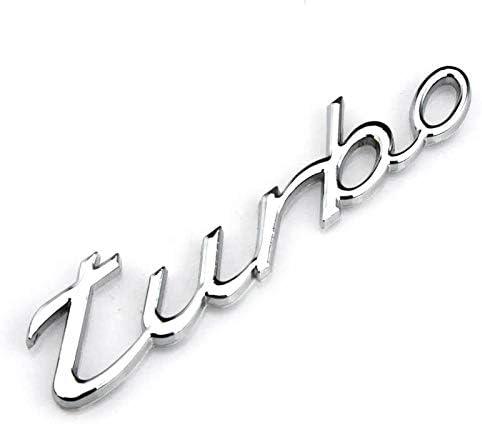 Sliver Turbo 2pcs Metal TURBO Premium Car Side Fender Rear Trunk Emblem Badge Decals Universal