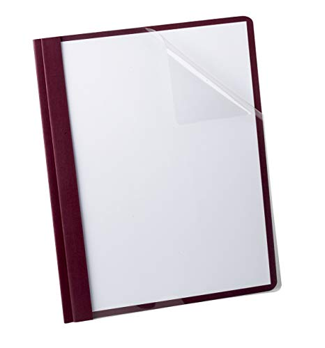 Oxford Clear Front Report Cover, 3 Prong, 1/2 inch Capacity, Burgundy, Letter Size, 25 per Box, (53341)