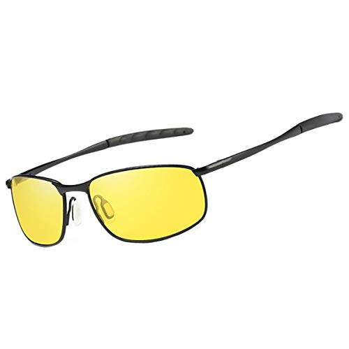 FEIDU Sport Mens Sunglasses HD Lens Metal Frame Driving Shades Night Vision FD 9005 (Yellow/Black, -