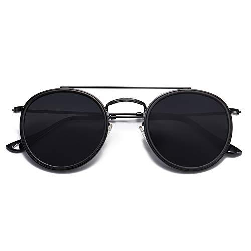 SOJOS Small Round Polarized Sunglasses Double Bridge Frame Mirrored Lens SUNSET SJ1104 with Black Frame/Grey Polarized Lens