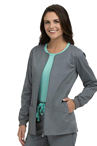 (Med Couture Signature Women's Zip Front Warm Up Scrub Jacket, Steel, X-Large)
