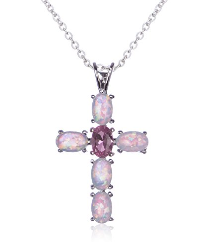 SilverLuxe Sterling Silver Created Opal Cross w/ Created Pink Sapphire Center - 18