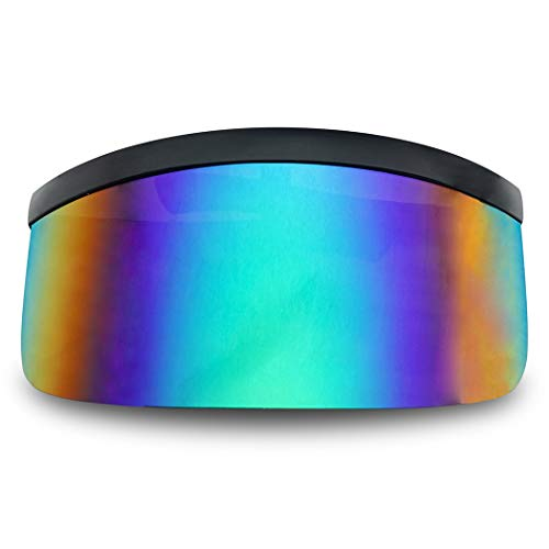 Matte Black Retro Futuristic Single Shield Color Oversized Visor Sunglasses (Matte Black, Blue Mirror) ()