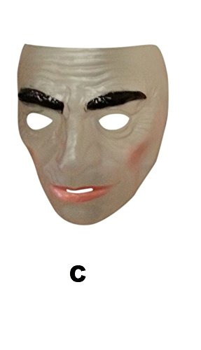 (Male Transparent Mask, Plastic, The Purge Mask, Halloween Fancy Dress)