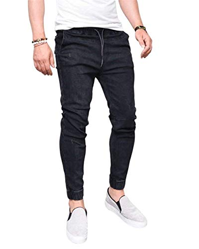 Pantaloni Jeans Vintage Skinny Stretch On Con Denim Chel Tre Da Uomo Elasticated Quarti Nero ExwqS16