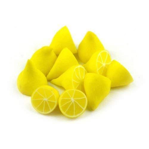 MyTinyWorld 4 x Dolls House Miniature Handmade Translucent Lemon Halfs