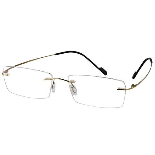 EyeBuyExpress Titanium Rimless Rectangle Gold Reading Glasses Magnification Strength - Rimless Rectangle Eyeglasses