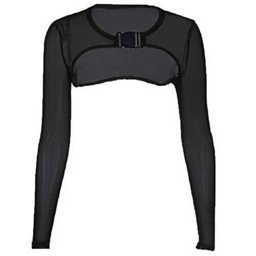 Women's Extra Short Sheer Mesh Crop Top Long Sleeve Buckle Closure Tank Tees (M, Black)