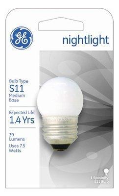 GE 41267 (50-Pack) 7.5-Watt White S11 1CD Incandescent Night Light Bulb, Soft White, S11 Shape, 39 Lumens, E26 Medium Base