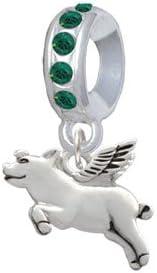 Delight Jewelry Silvertone Flying Pig Birthday Crystal Charm Bead