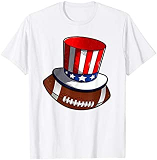 Football With American Flag Hat Patriotic 4th Of July T-shirt   Size S - 5XL