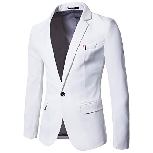 Comaba Men's Plus Size Solid Business Silm Leisure Suit Jacket Blazer White S by Comaba