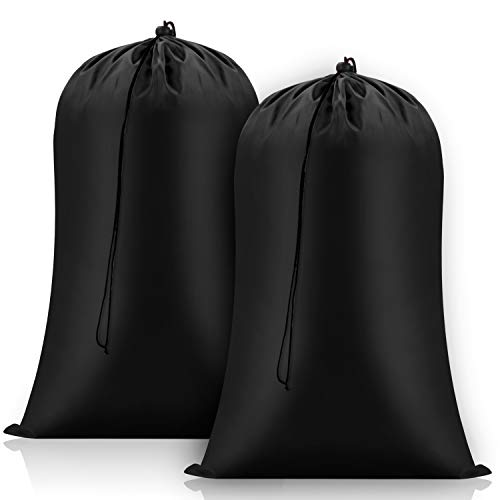 FreDorm Heavy Duty Laundry Bags Extra Large 28 x 48 inch 2 Pack XL Dirty Clothes Organizer Travel Storage Bag Drawstring Closure Camp College Dorm Tear Resistant Big Hamper Liner Black