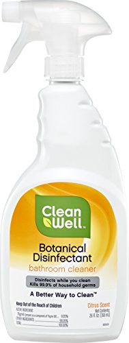 CleanWell Botanical Disinfectant, Bathroom Cleaner Spray - Citrus Scent, 26 FL Ounces - Plant-Based, Botanical, disinfects, deodorizes, Kid Friendly, no Animal ()