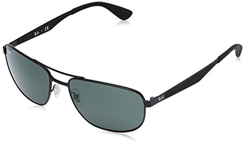 Ray-Ban Men's RB3528 Square Metal Sunglasses, Matte Black/Green, 58 mm (Rb3528)