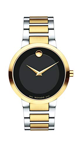 Movado Men's Modern Classic Two-Tone Watch with a Concave Dot Museum Dial, Black/Gold (Model 607120) ()