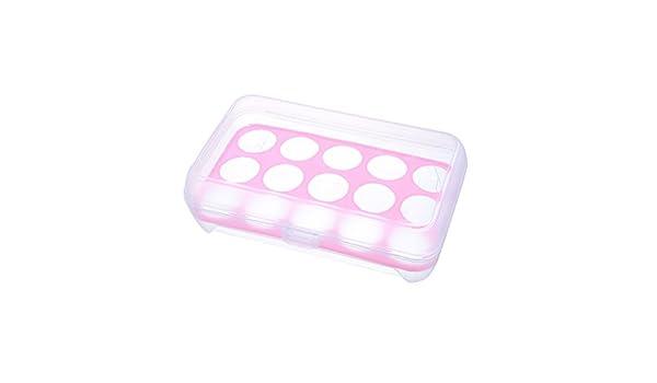 OUNONA Transparente Soporte para huevos Contenedor a prueba de golpes Caja de almacenamiento Bandeja para 15 huevos Rosa
