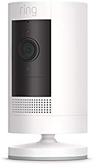 Ring Stick Up Cam Battery HD security camera with two-way talk, Works with Alexa - White