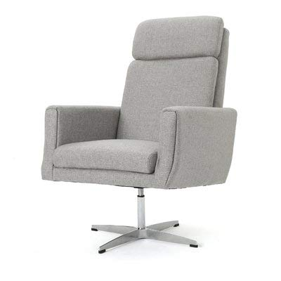 f67af55cf78 Fabric Accent Chair with Metal Frame - Swivel Accent Armchair with Square  Arms - Gray