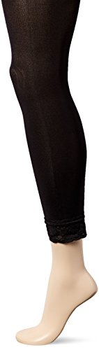 No Nonsense Women's Super Opaque Capri Tight With Lace Trim Sockshosiery, -black, L ()