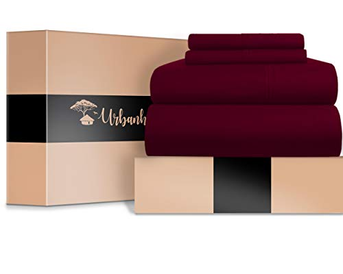 URBANHUT Egyptian Cotton Sheets Set - 700 Thread Count 100% Cotton Bed Sheets Queen (4 Piece), Luxury Queen Size Sheets, Deep Pocket, Soft & Silky Sateen Weave (Burgundy) (Burgundy Sheets Queen)