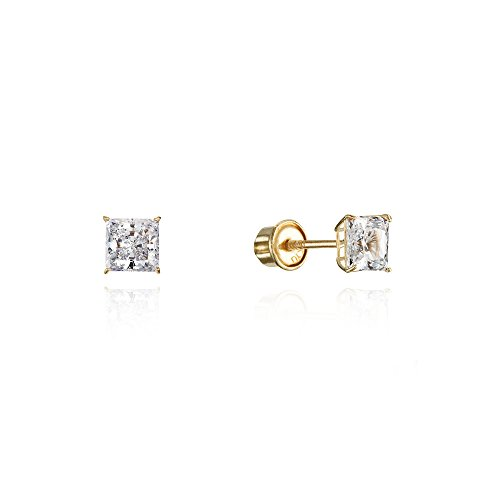 10k Yellow Gold 3mm Basket Princess Cut CZ Cubic Zirconia Children Screw Back Baby Girls Earrings ()