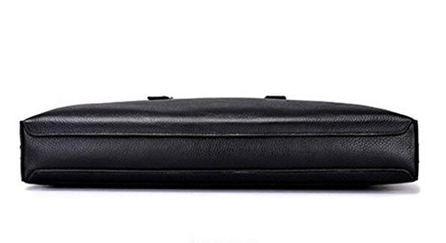 Herren Leder Aktentasche Schultertasche Cross-body Große Kapazität Vintage Echtem Leder Messenger Tasche Black QBRvsc