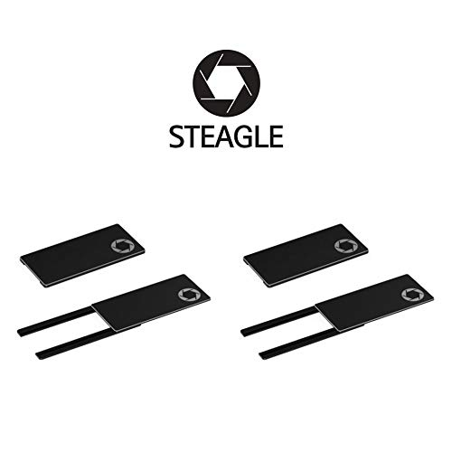STEAGLE Two Pack (Black x 2) Premium Laptop Webcam Cover [2nd Generation] for your privacy - compatible with Macbook Surface Laptop PC