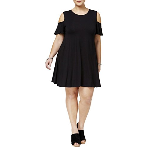 Shoulder Flutter Sleeve Dress - Style & Co. Womens Plus Cold Shoulder Flutter Sleeve Casual Dress Black 1X