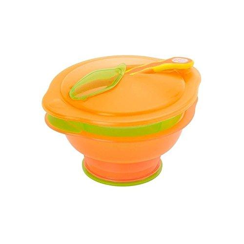 Vital Baby Travel Suction Bowl (Orange/Green) - Pack of 4