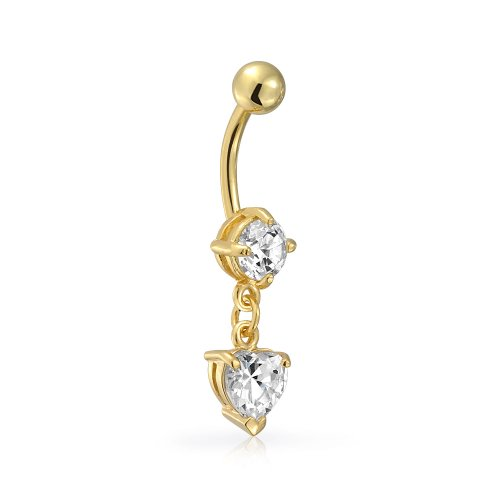 Heart Dangle Gold Belly (Gold Plated Stainless Steel CZ Dangle Heart Navel Belly Ring)