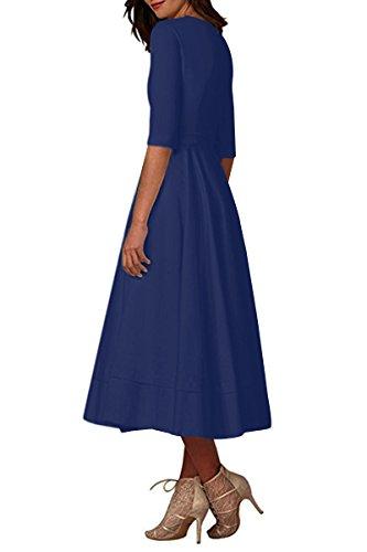 Navy Swing blue Neck Tunic Cocktail s YMING Dress Women Deep Half Sleeve Elegant V Vintage WOPwq06