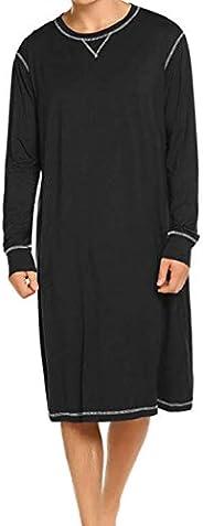 Men's Autumn Winter Plain Nightwear, Long Sleeve Round Neck Loose Waist Nightshirt Pajama Sleepwear Sleep