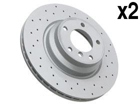 BMW e90 330 Brake Disc Front CROSS Drilled (x2 rotors) friction discs