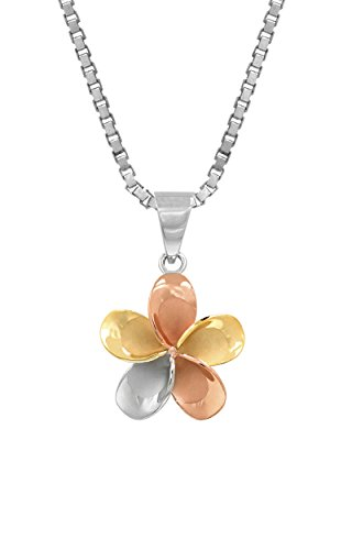 14k Gold Tri-Color Plated Sterling Silver Plumeria Necklace Pendant with 18