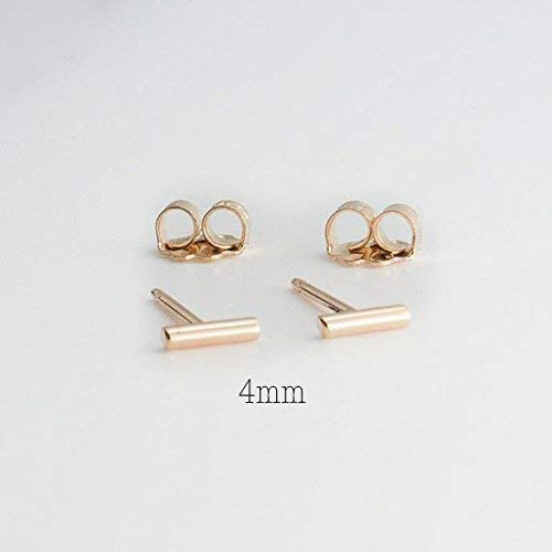 Tiny Minimalist Gold Bar Studs Earrings 4 x 1.2mm by Fashion Art Jewelry