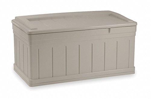 Suncast 129 Gallon Patio Storage Box - Large Waterproof Outdoor Storage Container for Patio Furniture, Pools Toys, Yard Tools - Store Items on Deck, Porch, Backyard - Taupe