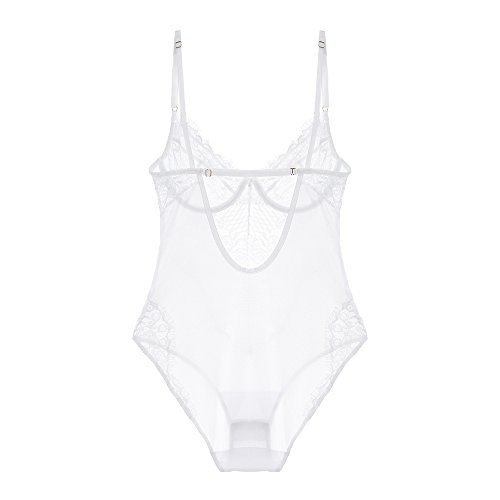Women Bodysuits Coverall Eyelash Look Mesh Lace Teddies Sexy Lingerie Set Push up Underwear ()