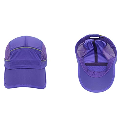 Hot Sale!UMFun Foldable Mesh Sports Cap with Reflective Stripe Breathable Sun Runner Cap (Purple) ()