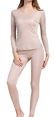 Fashion Silk Women's Thermal Underwear Sets Mulberry Silk Crewneck Long Johns for Women Base Layer (Large, Beige)