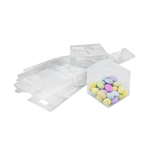 Houseables Clear Favor Boxes, Plastic Gift Box, 3x3x3 Inch, 50 Pack, Transparent, Small, Square, Storage Bins, Empty Boxed Containers, for Wedding, Party, Birthday Presents, Candy, Jewelry, Christmas