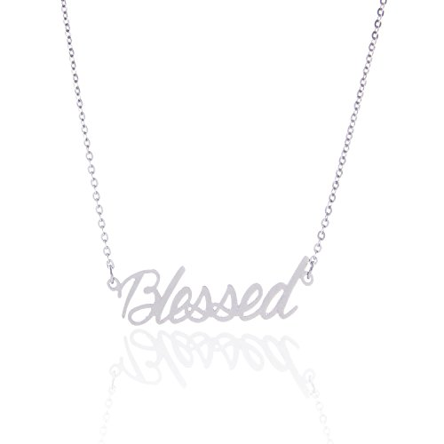 HUAN XUN Stainless Steel Intial Necklace Best Wishes Words Best Friend Jewelry, Blessed
