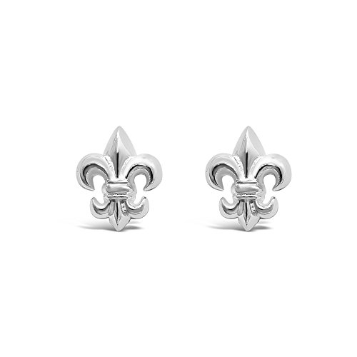 Mens Fleur De Lis - 925 Solid Sterling Silver Tiny Fleur-De-Lis Stud Earrings - Small Flower of Lily Jewelry - Men - Unisex