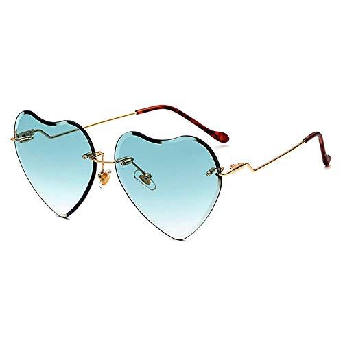Heart Sunglasses for women Rimless Thin Metal Frame Heart shaped Sun glasses UV400 ()