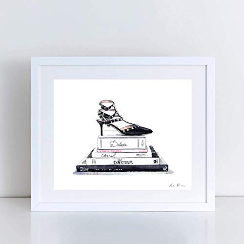 Black Valentino Rockstud Designer Heels Art Print Watercolor Painting Wall Home Decor Still Life Fashion Illustration Vogue Shoes Gift for Her Preppy Pretty Canvas ()
